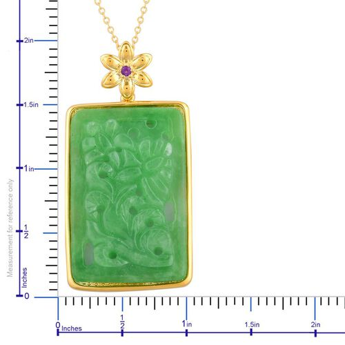 Limited Edition- Hand Polished Carved Green Jade and Amethyst Pendant With Chain in Yellow Gold Overlay Sterling Silver 27.540 Ct.