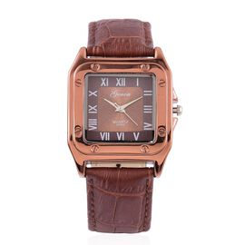 GENOA Japanese Movement Sunshine Chocolate Dial Water Resistant Watch in Rose Gold Tone with Stainless Steel Back and Dark Chocolate Colour Croc Embossed Strap