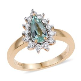 ILIANA 18K Y Gold Mozambique Paraiba Tourmaline (Pear 0.70 Ct), Diamond Ring 1.000 Ct.