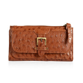 Genuine Leather Tan Colour Ostrich Pattern RFID Blocker Ladies Wallet with Buckle Wallet (Size 19x10.5x3 Cm)
