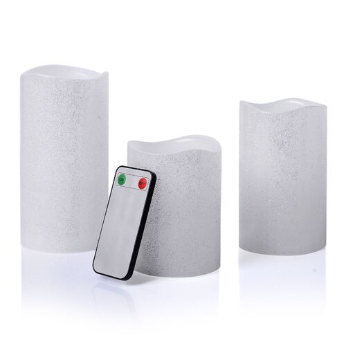 Set of 3 - Silver Colour Flameless Glitter Wax Candles with a Remote Control (Size 7.6x15/ 7.6x12/ 7.6x10 Cm)