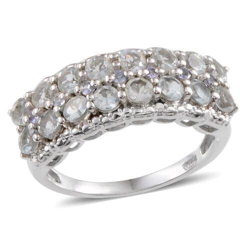 Espirito Santo Aquamarine (Rnd), Tanzanite Ring in Platinum Overlay Sterling Silver 1.850 Ct.