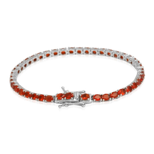 Jalisco Fire Opal (Ovl) Tennis Bracelet (Size 7.5) in Platinum Overlay Sterling Silver 10.000 Ct.