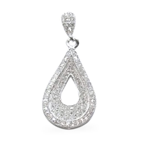 AAA Simulated Diamond (Rnd) Earrings (with Push Back) in Rhodium Plated Sterling Silver