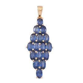 ILIANA 18K Yellow Gold 5 Carat Kanchanaburi Blue Sapphire Oval Cluster Pendant.