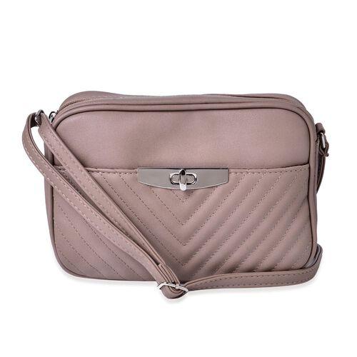 Grey Colour Crossbody Bag with Adjustable Shoulder Strap (Size 23.5x15.5x7 Cm)
