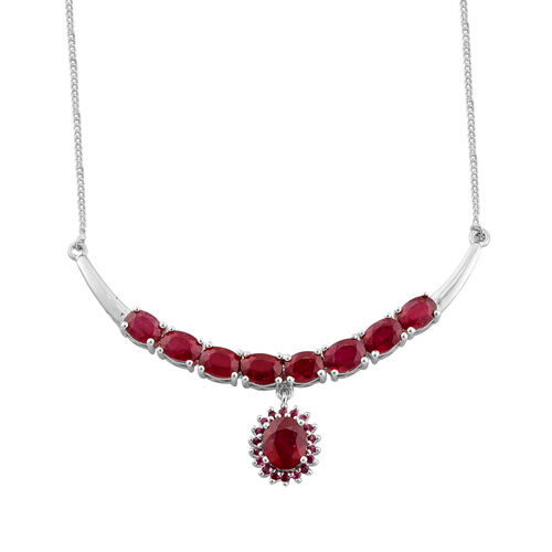 African Ruby (2.00 Ct), Burmese Ruby Platinum Overlay Sterling Silver Necklace (Size 18.00) 10.330 Ct.