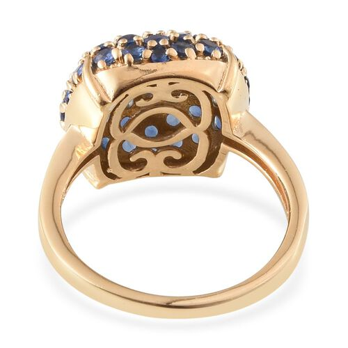 Kanchanaburi Blue Sapphire (Rnd) Ring in 14K Gold Overlay Sterling Silver 2.947 Ct.