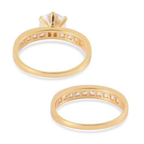 AAA Simulated White Diamond 2 Ring Set in Yellow Gold Plated Sterling Silver