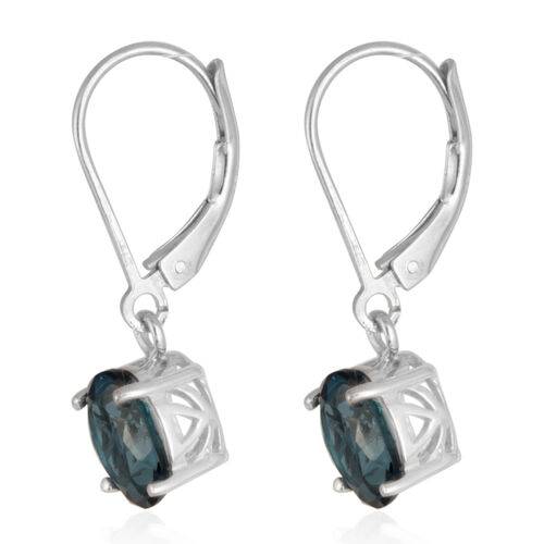 London Blue Topaz (Ovl) Earrings in Rhodium Plated Sterling Silver 3.000 Ct.