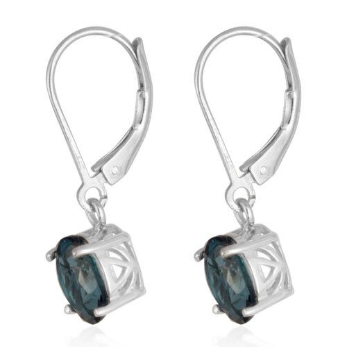 London Blue Topaz (Ovl) Earrings in Rhodium Plated Sterling Silver 3.000 Ct.