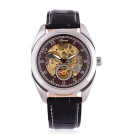 GENOA Automatic Skeleton Chocolate Dial Water Resistant Watch in Silver Tone With Stainless Steel Back and Genuine Leather Black Strap