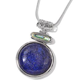 Lapis Lazuli and Abalone Shell Pendant with Chain (Size 18 with 2 inch Extender) in Silver Tone 96.500 Ct.