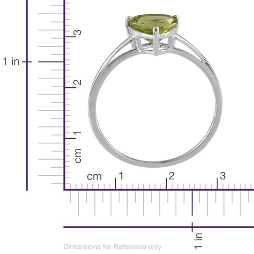 Hebei Peridot (Trl) Solitaire Ring in Platinum Overlay Sterling Silver 2.000 Ct.