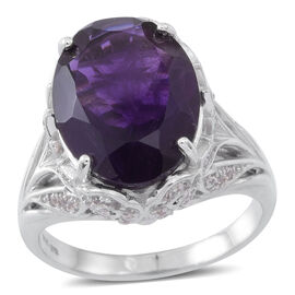 Lusaka Amethyst (Ovl 10.50 Ct), Natural Cambodian White Zircon Ring in Rhodium Plated Sterling Silver 11.000 Ct.