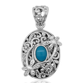 Royal Bali Collection Arizona Sleeping Beauty Turquoise (Ovl) Dragonfly and Floral Pendant in Sterling Silver 6.5 Gms.