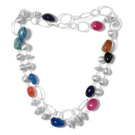 Multi Colour Agate, Howlite Necklace (Size 36) in Silver Tone 173.950 Ct.
