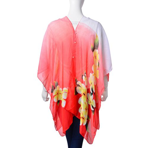 Bloom Plumeria Floral Pattern Yellow, Green, Pink and Red Colour Poncho with Simulated White Pearl Button (Size 90x75 Cm)