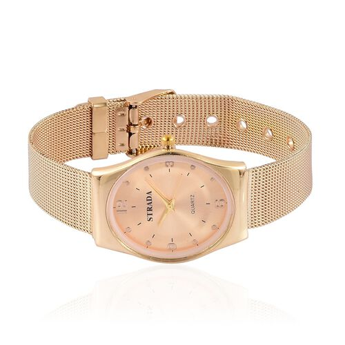 STRADA Japanese Movement Golden Dial Water Resistant Watch in Gold Tone with Stainless Steel Back and Chain Strap