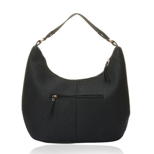 Black Colour Hand Bag with Three External Zipper Pocket (Size 16x4x9 inch)