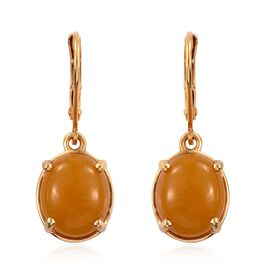 Yellow Jade (Ovl) Lever Back Earrings in 14K Gold Overlay Sterling Silver 8.250 Ct.