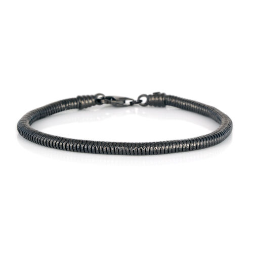 Vicenza Collection Black Rhodium Plated Sterling Silver Snake Bracelet (Size 7.5), Silver wt 9.20 Gms.