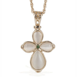 Simulated Cats Eye and Emerald Cross Pendant with Chain in Gold Tone 6.000 Ct.