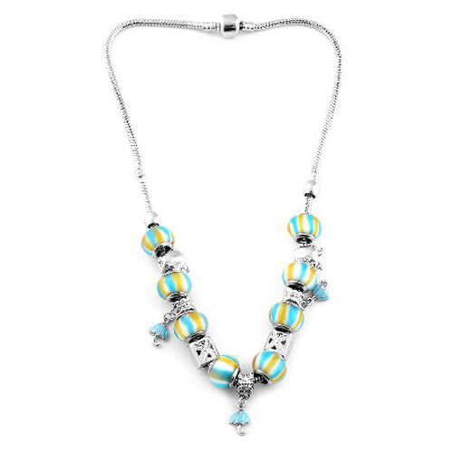 Glass Beads Necklace (Size 18) in Silver Tone