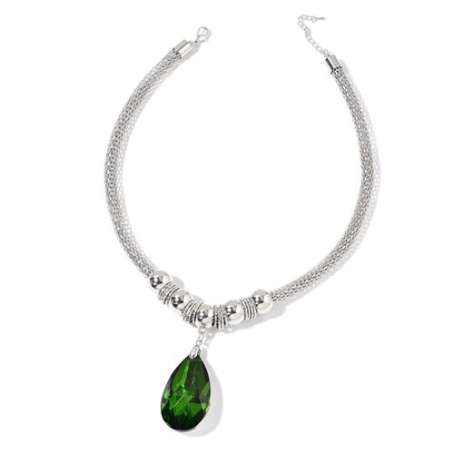 Simulated Emerald Necklace (Size 20 with 2 inch Extender) and Hook Earrings in Silver Tone with Stainless Steel