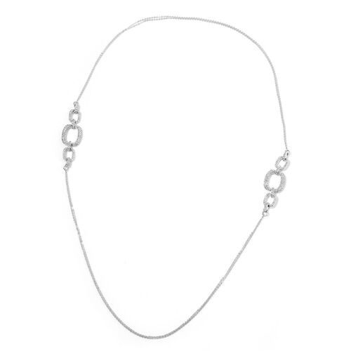 AAA White Austrian Crystal Necklace (Size 38), Bracelet (Size 7.50) and Earrings in Silver Tone