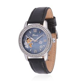 GENOA Automatic Skeleton White Austrian Crystal Studded MOP Floral Blue Dial Water Resistant Watch in ION Plated Silver with Stainless Steel Back and Black Strap