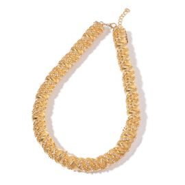 AAA White Austrian Crystal Twisted Necklace (Size 18 with 3 inch Extender) in Yellow Gold Tone