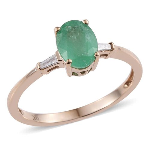 9K Y Gold Boyaca Colombian Emerald (Ovl 1.20 Ct), Diamond Ring 1.300 Ct.