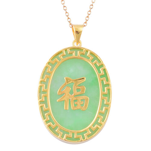 Green Jade Chinese Character FU (Happiness) Pendant With Chain in Yellow Gold Overlay Sterling Silver 20.000 Ct.