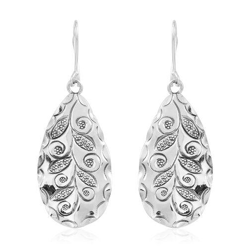 Designer Inspired Sterling Silver Leaves Hook Earrings, Silver wt 6.00 Gms.