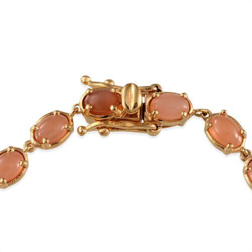 Mitiyagoda Peach Moonstone (Ovl) Bracelet in 14K Gold Overlay Sterling Silver (Size 7.5) 10.000 Ct.