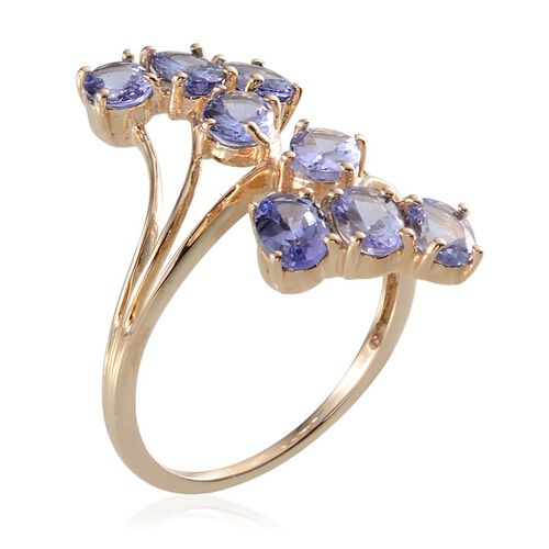 9K Y Gold Tanzanite (Ovl) Crossover Ring 3.000 Ct.