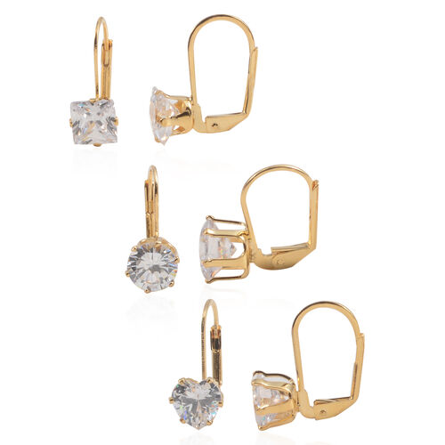 JCK Vegas Collection Set of 3 - AAA Simulated Diamond (Hrt, Rnd and Sqr) Lever Back Earrings in Gold Bond