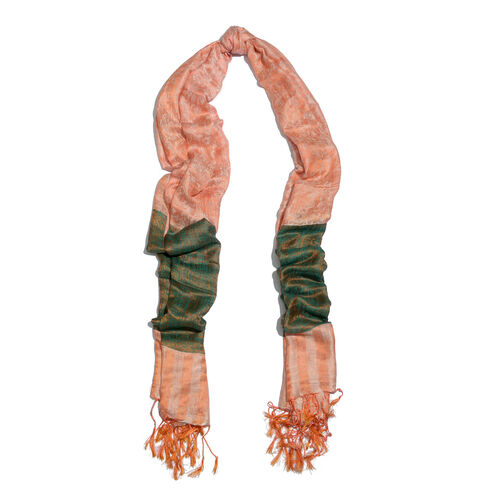 Super fine Silk Blend - Floral Pattern Green and Peach Colour Scarf (Size 210x80 Cm)