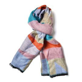 Pink, Green, Grey, Yellow and Orange Colour Block Pattern Scarf with Short Tassels (Size 190x65 Cm)