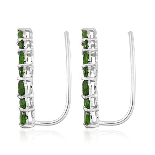 Russian Diopside (Pear) Climber Earrings in Platinum Overlay Sterling Silver 2.500 Ct.