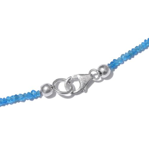 Malgache Neon Apatite (Rnd) Necklace (Size 20) in Platinum Overlay Sterling Silver 28.600 Ct.