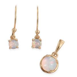 Ethiopian Welo Opal (Rnd) Hook Earrings and Pendant in 14K Gold Overlay Sterling Silver 1.000 Ct.