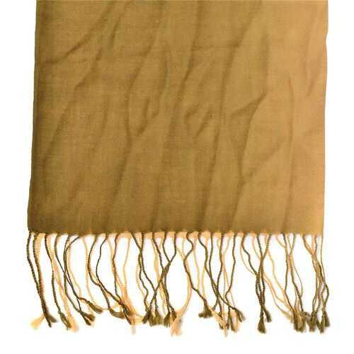Designer Inspired 100% Wool Brown and Green Colour Scarf with Fringes (Size 175x70 Cm)