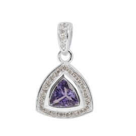 14K W Gold AA Tanzanite (Trl 0.60 Ct), Diamond Pendant 0.750 Ct.