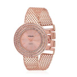 STRADA Japanese Movement Rose Dial White Austrian Crystal Water Resistant Watch in Rose Gold Tone with Stainless Steel Back and Chain Strap