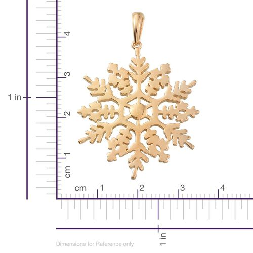 14K Gold Overlay Sterling Silver Snowflake Pendant, Silver wt 7.01 Gms.