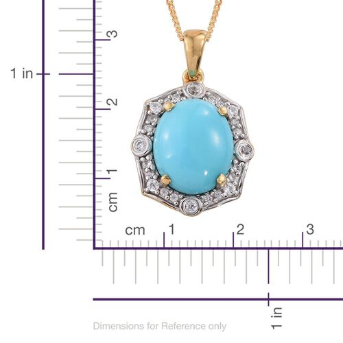 Arizona Sleeping Beauty Turquoise (Ovl 3.00 Ct), Natural Cambodian Zircon Pendant with Chain in 14K Gold Overlay Sterling Silver 3.250 Ct.