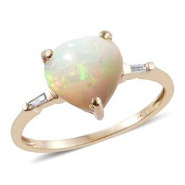 9K Y Gold AA Ethiopian Welo Opal (Hrt), Diamond (I3/G-H) Ring 2.000 Ct.