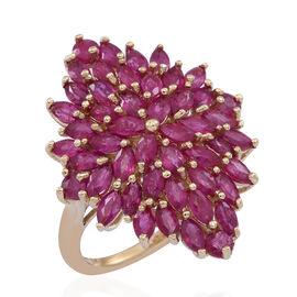 9K Y Gold Burmese Ruby (Mrq) Cluster Ring 5.500 Ct.